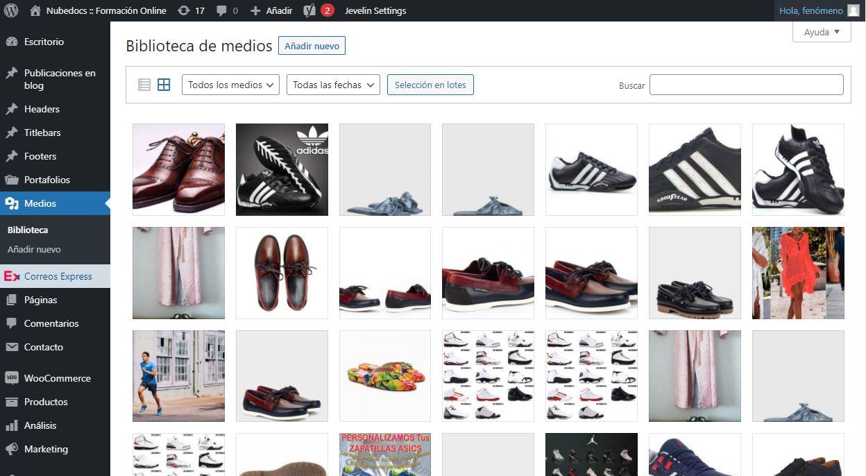 Hoja de Cálculo de ejemplo Woocommerce (CSV): Vista de Biblioteca de Medios de WordPress
